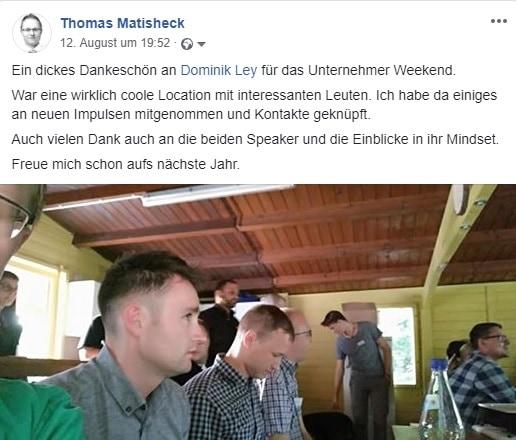 Teilnehmerstimme Thomas Matisheck